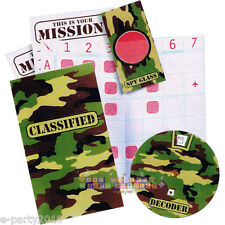MILITARY SECRET DECODER GAMES (4) ~ Birthday Party Supplies Favors Camouflage