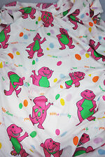 Vtg 1992 Barney Twin Flat Sheet Craft Fabric Material Made in USA