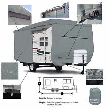 Deluxe Trailer Traveler RV Camper Cover Fits 25' - 26'L W/ Zipper Door Access