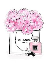CHANEL  PERFUME FLOWER WATERCOLOUR ART IMAGE A4 Poster Gloss Print Laminated