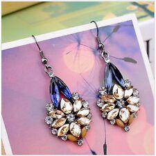 New Trendy Colorful Rhinstone Crystal Gem Resin Drop Flower Charm Stud Earrings.