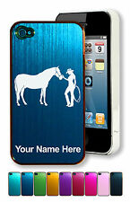 Personalized Aluminum Case/Cover for iPhone 4/4S - Horse and Cowgirl
