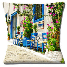 "Vintage Retro Greek Village Street Chairs Table Plants 16"" Pillow Cushion Cover"
