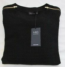 LADIES MARKS AND SPENCER BLACK JUMPER WITH  SHOULDER ZIPS SIZE 22
