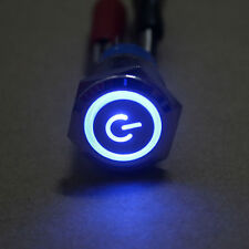 NEW 19mm 12v Blue LED Power symbol&angle eye Metal Push button ON/off Switch