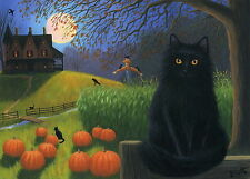 Black cat crow pumpkins haunted house moon Halloween limited edition aceo print