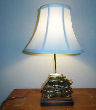 Vintage Gilbert Brass STAGECOACH Table Lamp Wooden Base Bell-shaped Shade