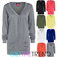 Womens New Button Up Boyfriend Cardigan Top Ladies Long Sleeve Pocket Cardi