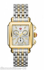 NEW AUTHENTIC MICHELE SIGNATURE DECO TWO TONE DIAMOND DIAL WATCH MWW06P000122