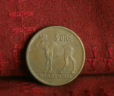 1964 Norway 5 Ore Bronze World Coin KM405 Animal Moose Olav V Norge Scandinavian