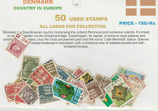 DENMARK COUNTRY IN EUROPE 50 DIFFERENT THEMATIC USED STAMPS FOR COLLECTION