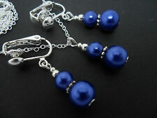 A  BLUE PEARL   NECKLACE AND CLIP ON  EARRING SET. NEW.