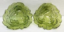Pair of Green Glass Triangle Candy/Nut/Salad Dishes Grape