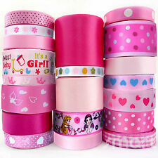 20 Yards Flower Dot Satin Ribbon 6mm--38mm Assorted 20 Styles Pink Theme Bow