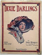 """1907 """"DIXIE DARLINGS"""" NOVELTY SHEET MUSIC LARGE FORMAT  ART COVER"""