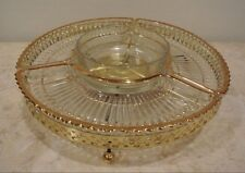 VINTAGE GLASS LAZY SUSAN  METAL TURN TABLE DIVIDED GLASS RELISH SERVING TRAY