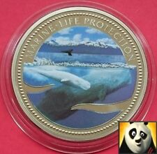 2002 PALAU $1 DOLLAR MARINE LIFE PROTECTION COLORED SPERM WHALE CACHALOT COIN