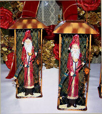 2 Christmas Santa Holiday Lantern Candle Holder Table Decor All Metal BEST PRICE