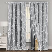 One Gray & White Window Curtain Panel: Tree Branch Design, Double Layered, 54x84
