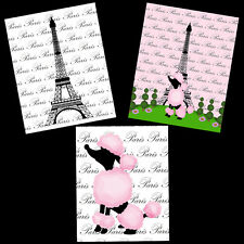 Paris Eiffel Tower French Poodle Pink Black 8X10 Wall Art Bathroom Home Decor