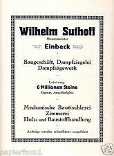 Maurermeister Suthoff Einbeck Große Reklame von 1924 Sägewerk Ziegelei Maurer Ad