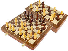 "Magnetic Travel Chess Set 12"" + 2 Extra Queens, 4 Extra Knights Inlaid Notations"