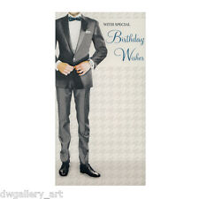Stylish Mens Birthday Card. Suit and Blue Bow Tie Design. Size:23cm x 12cm-BC04
