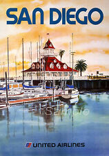 Vintage san diego united airlines travel A4 poster print