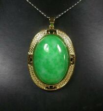 Gold Plate Green JADE Pendant Cabochon include Chain 280479