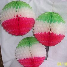 3 PC. FAN PAPER BALL: RED-WHITE GREEN COLORS MEXICAN - ITALIAN =PARTY DECORATION