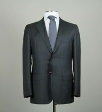 New $8495 Kiton Napoli Handmade Solid Charcoal Gray Suit 2015 Size 42 (52EU) NWT