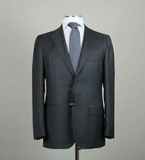New $8495 Kiton Napoli Handmade Solid Charcoal Gray Suit 2015 Size 42 (52EU) NWT