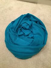 Blue Pure Warm Cashmere Wool Scarf Shawl Wrap Winter Gift Nepal Handmade Light