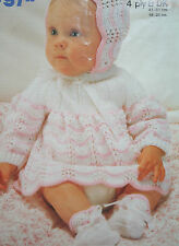 Baby Girls Dress, Bonnet and Bootees Knitting Pattern (BB03)