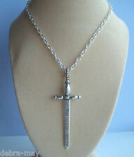 Medieval Sword Pendant Silver Plated Chain Necklace - Adonai Excalibur Gladiator