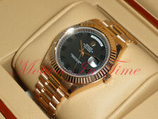 """Rolex Day Date II Rose Gold 41mm President Fluted Bezel """"Black Out"""" Dial 218235"""