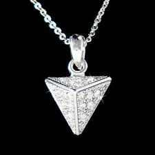 w Swarovski Crystal Rock Punk Pyramid Stud Spike Triangle Jewelry Charm Necklace