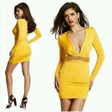 NEW GUESS by Marciano yellow Jessa Long-Sleeve Dress size S