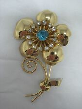 Vintage Coro Big Gold Flower Brooch With Clear & Blue Rhinestones - Signed