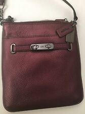 New COACH Metallic Swagger Swingpack Metallic Cherry Crossbody Handbag 195$