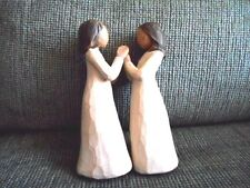 """WILLOW TREE  SUSAN LORDI  """" SISTERS BY HEART """"  2  FIGURINES JOIN AT HANDS"""