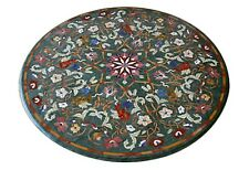 """36"""" Green Marble Coffee Side Table Top Rare Gemstone Mosaic Home Deco Furniture"""