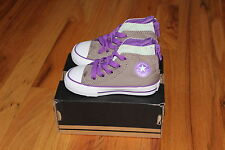 NEW Toddler Girls Converse Gray Purple & Mint High Top All Star Sneakers Shoes 6