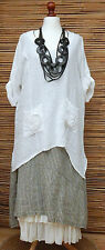 LAGENLOOK LINEN AMAZING OVERSIZE 2 FLOWERS POCKETS QUIRKY TOP*WHITE*Size XXL