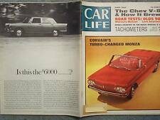 1962 APRIL CAR LIFE MAGAZINE CORVAIR TURBO CHARGED MONZA CHEVY V8 OLDS 98 METEOR