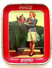 "VINTAGE 1942 ""DRINK COCA-COLA"" TWO GIRL AT CAR TRAY"