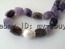 Faceted Natural Amethyst&White Baroque Keishi Keshi Pearl Necklace Silver Clasp