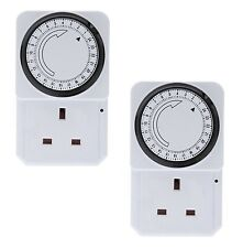2 X 24 Horas 24 horas a la red eléctrica enchufe en temporizador interruptor Reloj De Tiempo Socket Uk 3 Pin Adaptador
