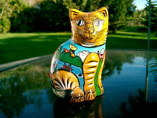 "CERAMIC CAT  FROM PERU HIGHLY DECORATED BOLD 5.5""  BEAUTIFUL COLLECTIBLE"