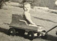 1940s Cute Kids Toddlers Play w vintage DE LUXE JUNIOR pull Wagon Toy old Photo